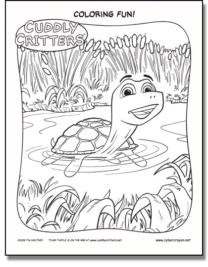 Preview of Coloring Fun! - Cuddly Critters™ own Tyler Turtle