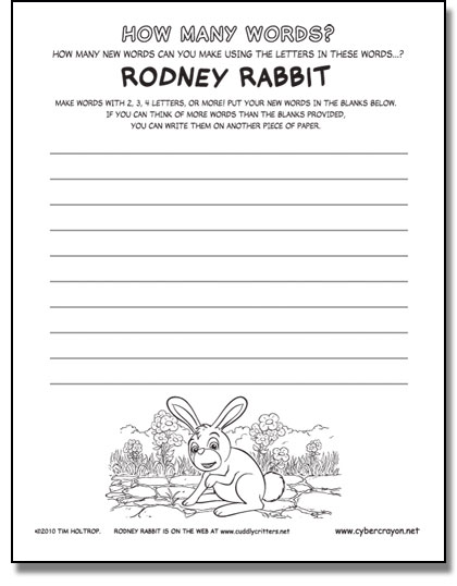 Preview of Word Builder - Rodney Rabbit