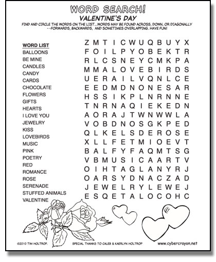 Preview of Word Search - Valentine's Day!