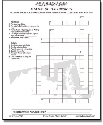 Preview of Crossword - States of the Union 04