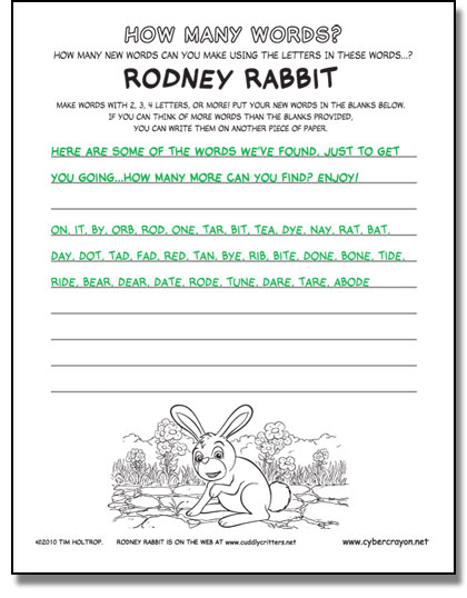 Preview of answers to How Many Words - Rodney Rabbit