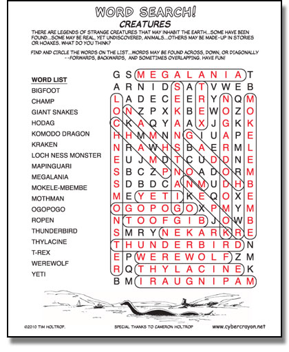 Preview of answers to Word Search - Creatures