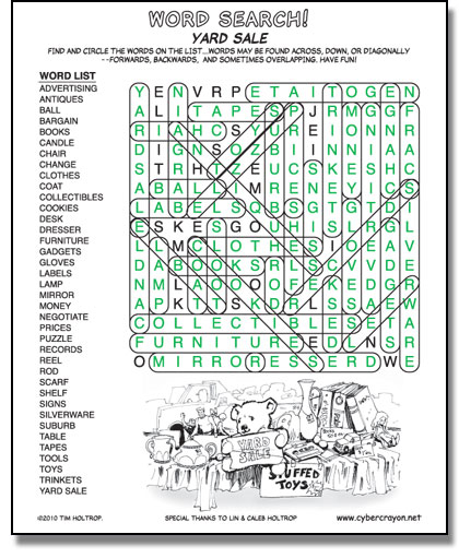 Preview of answers to Word Search - Yard Sale