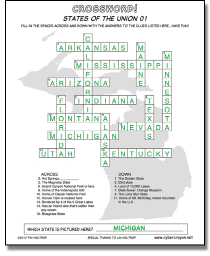 Preview of answers to Crossword - States of the Union 01