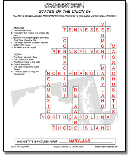Preview of answers to Crossword - States of the Union 04